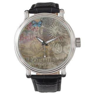 Collage del viaje de Italia del vintage de Roma Relojes