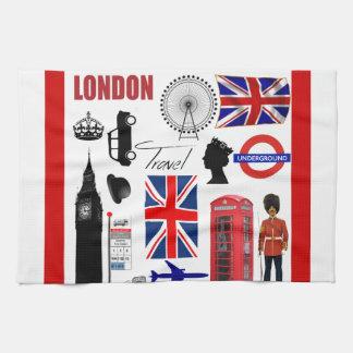 Collage del viaje de Londres Toallas De Mano