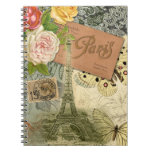 Collage del viaje de París Francia de la torre Eif Libretas