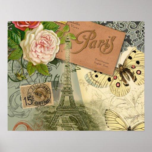 Collage del viaje de París Francia de la torre Eif Impresiones