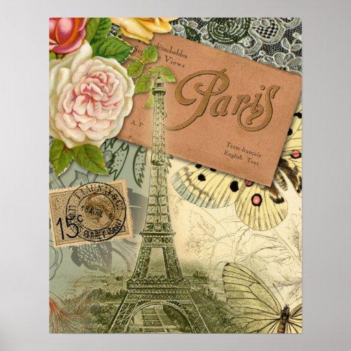 Collage del viaje de París Francia de la torre Eif Posters