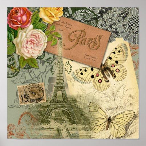 Collage del viaje de París Francia de la torre Eif Poster