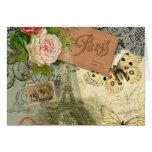 Collage del viaje de París Francia de la torre Eif Tarjetas