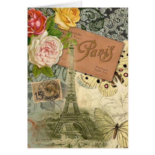 Collage del viaje de París Francia de la torre Eif Tarjeta De Felicitación