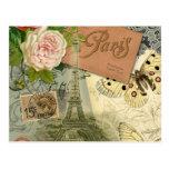 Collage del viaje de París Francia de la torre Eif Postal