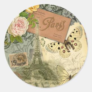 Collage del viaje de París Francia de la torre Pegatina Redonda