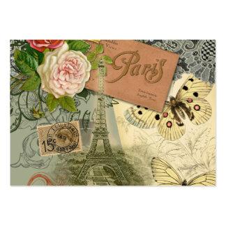 Collage del viaje de París Francia de la torre Tarjetas De Visita Grandes