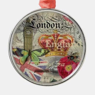 Collage del viaje del vintage de Londres Adorno Navideño Redondo De Metal