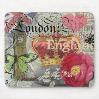 Collage del viaje del vintage de Londres Alfombrilla De Ratón