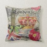Collage del viaje del vintage de Londres Inglaterr Cojines