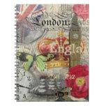 Collage del viaje del vintage de Londres Inglaterr Libros De Apuntes