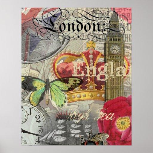 Collage del viaje del vintage de Londres Inglaterr Poster