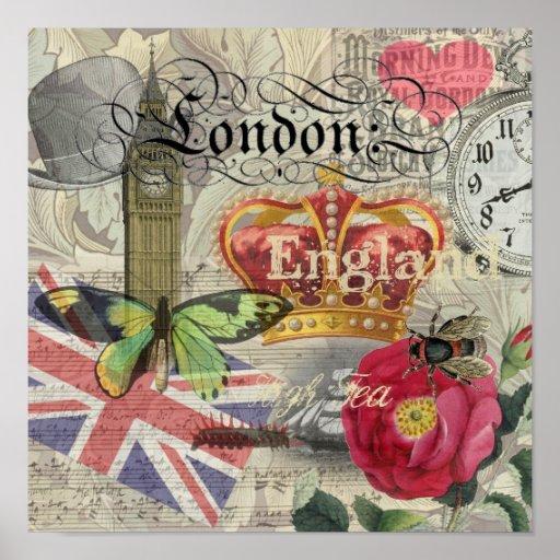 Collage del viaje del vintage de Londres Inglaterr Impresiones