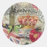 Collage del viaje del vintage de Londres Inglaterr Pegatina Redonda