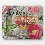 Collage del viaje del vintage de Londres Inglaterr Tapete De Raton