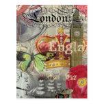 Collage del viaje del vintage de Londres Inglaterr Postal