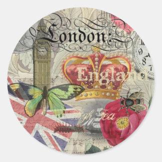 Collage del viaje del vintage de Londres Pegatina Redonda