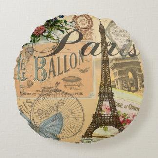 Collage del viaje del vintage de París Francia Cojín Redondo