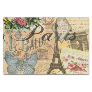 Collage del viaje del vintage de París Francia Papel De Seda