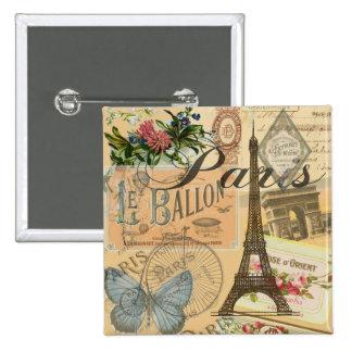 Collage del viaje del vintage de París Francia Pin Cuadrado