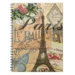 Collage del viaje del vintage de París Francia Spiral Notebooks