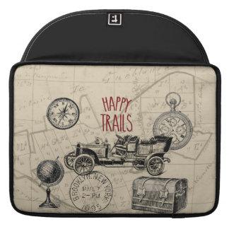 Collage del viaje del vintage, viaje por carretera fundas para macbooks