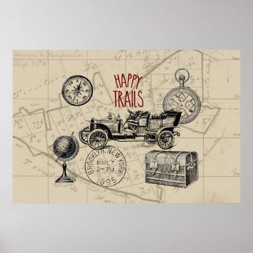 Collage del viaje del vintage, viaje por carretera posters