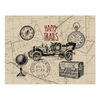 Collage del viaje del vintage, viaje por carretera postales