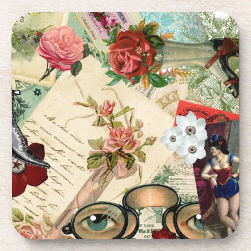 Collage del vintage con los rosas y las gafas posavaso