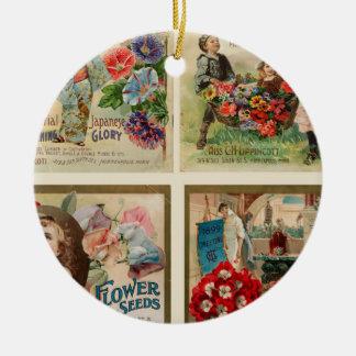 Collage del vintage de las semillas de flor ornamentos de reyes magos