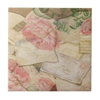 Collage del vintage, letras francesas y postales azulejo cuadrado pequeño