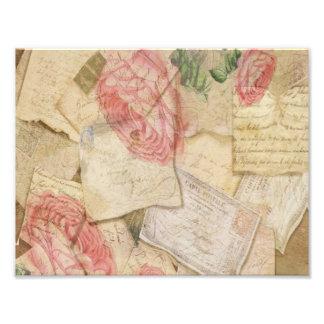 Collage del vintage, letras francesas y postales fotografías
