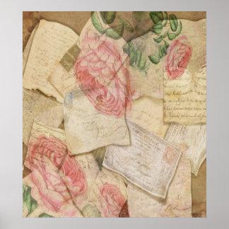 Collage del vintage, letras francesas y postales póster