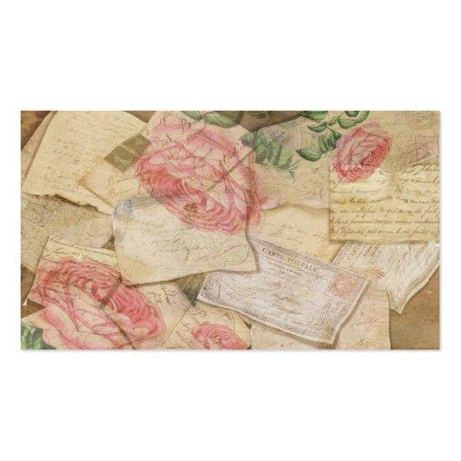 Collage del vintage, letras francesas y postales tarjeta de visita