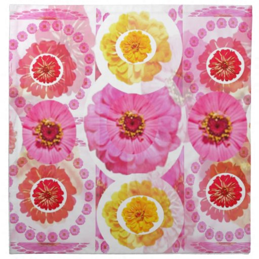 Collage del ZINNIA de la flor - disfrute de la ALE Servilleta Imprimida