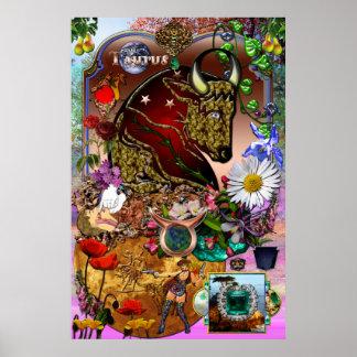 Collage del zodiaco del tauro impresiones