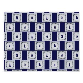 Collage Delft blue tiles Photo Print