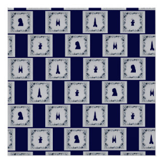 Collage Delft blue tiles Poster
