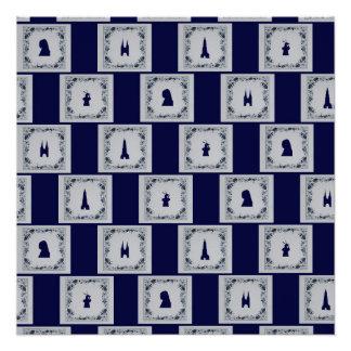 Collage Delft blue tiles Poster