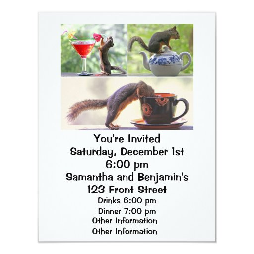 Collage divertido de la imagen de la ardilla invitación 10,8 x 13,9 cm