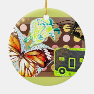 Collage Eclectic Brown Goat Butterfly RV Stamp Ceramic Ornament