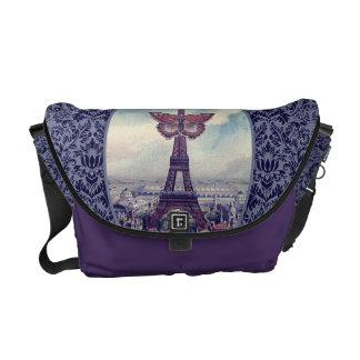 Collage elegante del vintage de la torre Eiffel de Bolsa De Mensajeria