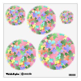 Collage en colores pastel de la flor vinilo adhesivo
