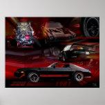 Collage en rojo y negro poster