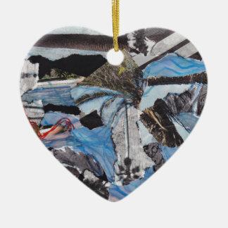 Collage estupendo de Sandy de la tormenta Adorno Navideño De Cerámica En Forma De Corazón