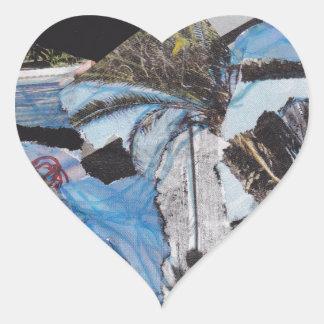 Collage estupendo de Sandy de la tormenta Pegatina En Forma De Corazón