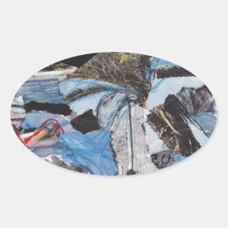Collage estupendo de Sandy de la tormenta Pegatina Ovalada