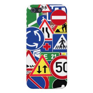 Collage europeo de las señales de tráfico iPhone 5 funda