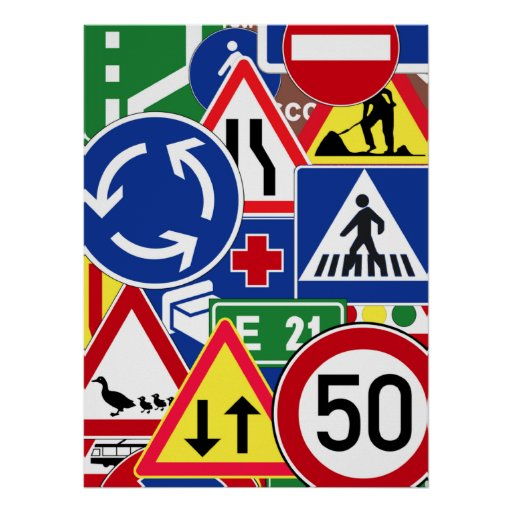 Collage europeo de las señales de tráfico poster