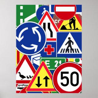 Collage europeo de las señales de tráfico póster